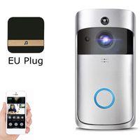 Wifi Samrt Video Türklingel Gegensprechanlage PIR-Erkennungskamera Nachtsicht-Cloud-Speicher - Farbe:Silber (EU-Stecker)