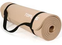 TOPLUS Verdickte Gymnastikmatte e Yogamatte rutschfest und gelenkschonend Sportmatte für Yoga Pilates Sport mit praktischem Trageband Pilatesmatte 183 * 61 * 1 cm,Dunkelbeige