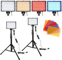 LARS360 2X 10W Videoleuchte 5600K Dimmbare USB-Kameralicht mit Verstellbarem Stativ RGB Fotagrafie Beleuchtung mit 66 LEDs und 8 Fliter Slave-Blitzgeräte für Produktporträt YouTube-Videofotografie