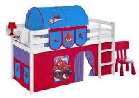 Lilokids Spielbett JELLE 90 x 190 Spiderman - weiß - mit Vorhang und Lattenrost - , Maße: 198 cm x 113 cm x 98 cm; T-JELLE2054KW-SPIDERMAN-190