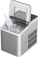 GOPLUS 1,6 L Eiswürfelmaschine, Eiswürfelbereiter mit Produktionszeit von 8 Minuten, 12kg Eiswürfel /24h, Selbstreinigungsfunktion, mit LCD-Anzeige, inkl. Eiswürfelschaufel, für Zuhause, Bar (Silber)