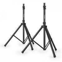 Malone Speaker Alu Boxenstativ-Set - Boxenstative für PA-Boxen , Stellhöhe einstellbar von ca. 1,30-2,00 m , Stative belastbar bis 25kg , rutschfeste Gummifüße , leichtes Aluminium , schwarz