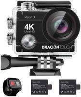 Dragon Touch Vision 3 Action Cam 4K 16MP Action Kamera Unterwasserkamera 170° Weitwinkel WiFi Sportkamera