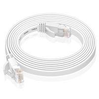 VERCO 30m CAT 6 Netzwerkkabel Patchkabel Flachkabel RJ45 PC LAN Kabel Ethernet Flach Weiss