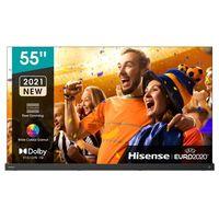 Hisense 55A9G 139,7 cm (55 Zoll) 4K Ultra HD OLED-Fernseher, DVB-T/-T2/-C/-S2 Empfänger, HbbTV, WLAN, Smartphone-Steuerung, eingebauter Sprachassistent, CI+, DR) G, 114 kWh/1000h (SDR)