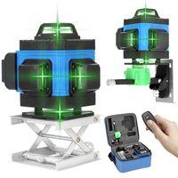 4D 16 Lines Kreuzlinienlaser Grün 4D Laser Level (Arbeitsbereich: 25 m) APP-Fernbedienung Rotationslaser Laserpegel selbstausgleichende IP54 Staub & Wasserschutz