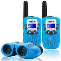 Retevis RT388 Kinder Walkie Talkies mit Kinder Ferngläser, Kinder Funkgeräte mit LCD-Display Taschenlampe, Kinder Fernglas Spielzeug, Beste Weihnachtsgeschenk für Kinder, Jungen, Mädchen (Blau)
