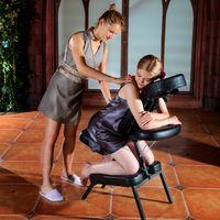 Master Massage Apollo™ Klappbarer Mobiler Massagestuhl Klappbar Therapiestuhl Paket mit XXL Sitzfläche-Schwarz