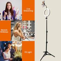 "8"" LED Dimmbare Ringlicht Ringleuchte Videoringlampe Studiolicht Fotolicht Lampe USB mit 1,2m Stativ Telefon Clip Set  f. YouTube Makeup Selfie Live"