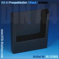 DIN A4 Prospekthalter / Wandmontage / schwarz
