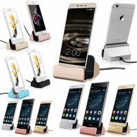 Dockingstation Dock für Micro-USB 5 Pin / TYP-C / für Apple  Smartphones Laden, Docking- Ladestation Ausführung:Lightning Apple Silber