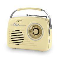 EASYmaxx Batterie-Radio Retro Vanille AM/FM AUX USB SD-Karte Lautsprecher 50er