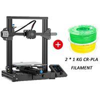 Creality 3D Ender-3 V2 3D Drucker + 2*1KG PLA-Filament (zufällige Farbe)