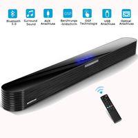 TV Soundbar Bluetooth 5.0 80W HIFi-surround Soundbar Fernbedienung Touchscreen Optical Aux RCA USB Anschluss für pc Handy tv Heimkino Party 34inch schwarz