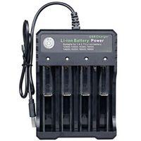 4 Slots Akku Ladegerät USB Charger Schnelladegerät für 18650 Lithium Batterie DE