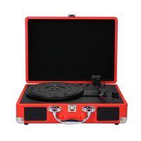 Plattenspieler mit Lautsprechern Vintage Schallplattenspieler Stereo Sound Rot EU-Typ