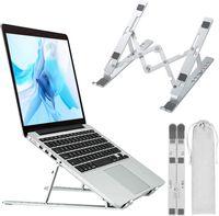 Laptop Ständer, Faltbarer Einstellbarer Notebook Ständer, Tragbarer Leichter Aluminium Laptop Riser für MacBook Air, Macbook Pro, HP, Dell, Lenovo More (bis zu 15,6 Zoll), Silber