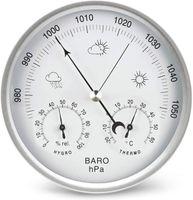Wetterstation analog 3 in1 Edelstahlrahmen Barometer Thermometer Hygrometer