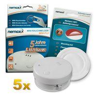 5x Nemaxx Mini-FL2 Rauchmelder - hochwertiger & diskreter Mini Brandmelder Feuermelder Rauchwarnmelder mit Lithium Batterie - nach DIN EN 14604 + Nemaxx NX1 Quickfix Befestigungspad