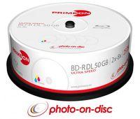 25 Primeon Rohlinge Blu-ray BD-R Dual Layer full printable photo on disc 50GB 8x Spindel