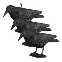 relaxdays 3x Taubenschreck, stehende Krähe, Taubenabwehr, Vogelabwehr, Vogelschreck 33 cm