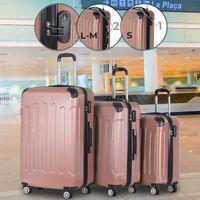 Vojagor® Koffer Trolley Set - Roségold, 3 teilig groß mittelgroß klein, ABS Kunststoff, 4 Rollen, Hartschale, TSA-Schloss - Hartschalenkoffer, Reisekoffer, Kofferset