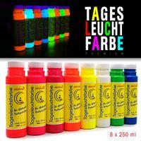 8 x 250ml Tagesleuchtfarbe NEON Schwarzlichtfarbe UV Farbe Neonfarbe Leuchtfarbe