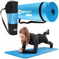 Hop-Sport Gymnastikmatte 1cm - rutschfeste Yogamatte für Fitness Pilates & Gymnastik mit Transporttasche - Maße 180cm Länge 61cm Breite  -  blau