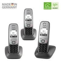 Gigaset Comfort Trio - 3 schnurlose Telefone für Büro und Zuhause mit großem Display und Freisprechfunktion – einfache Bedienung, anthrazit-grau