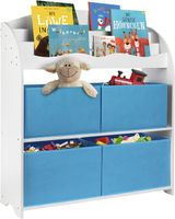 ONVAYA® Kinder-Bücherregal Weiß / Blau | Kinderregal mit Boxen | Aufbewahrung von Büchern und Spielzeug | Organizer für Kinderzimmer