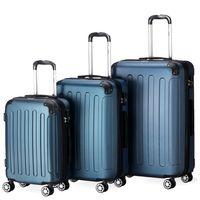 Flexot 2045 3er Reisekoffer Set - Farbe Blau Größe M L XL Kofferset Hartschale Trolley Koffer