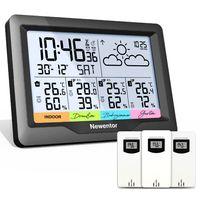 Newentor Wetterstation Funk mit 3 Außensensor Indoor Outdoor Thermometer Hygrometer DCF-Funkuhr Multifunktionale Funkwetterstation