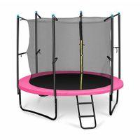 250 Trampolin 250cm Sicherheitsnetz innen, breite Leiter pink,gartentrampoline