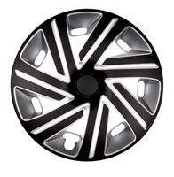 4x PREMIUM Radkappen Modell: Cyrkon Schwarz-Silber, Größe:15 Zoll