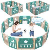 Dripex Laufgitter Laufstall Baby Absperrgitter 14-Paneele Schutzgitter Krabbelgitter für Kinder aus Kunststoff mit Tür und Spielzeugboard (Grün-Braun)