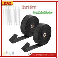 2x 15m  2000° Hitzeschutzband Hitzeschutz Auspuffband Heat Wrap Krümmerband Krümmer Glasfaser + Edelstahl