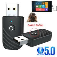 3in1 Bluetooth 5.0 USB Adapter Dongle High Speed Transmitter und Empfänger Receiver mit Audio Hole für Windows PC Laptop Computer