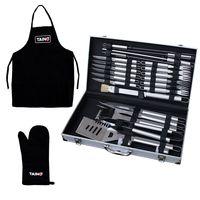 TAINO Grillbesteck Koffer 24-teilig Edelstahl inkl. Schürze + Handschuh Grill-Set Grill-Werkzeug