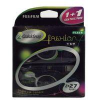 Fujifilm Quicksnap Fashion 400 ISO Einwegkamera mit Blitz, 2 x 27 Aufnahmen, Schwarz
