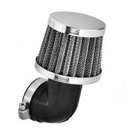 Luftfilter Sportluftfilter, Tuning 35mm, 90° Biegung, Stahlgewebe, Chromdeckel für Motorrad, Roller