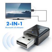 2 in 1 USB Bluetooth 5.0 Sender Empfaenger AUX Audio Adapter fuer TV / PC / Auto