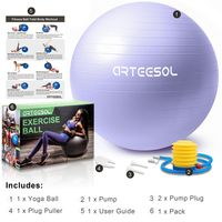 arteesol Gymnastikball 55 cm Sitzball Fitnessball Anti Burst Yoga Pilates Sportball Mit Luftpumpe, Helles Lila