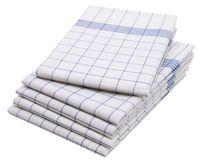 10er Set Geschirrtücher, Baumwolle, 50x70 cm, blau-kariert
