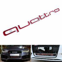 1X Quattro Logo Bumper Grill Badge Emblem Abzeichen Rot für Audi RS3 RS4 A1 A3 A4 A5 A6 A6 A7 A8 Q3 Q5 Q7