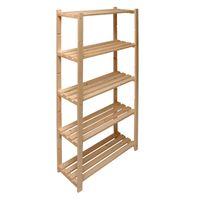 Holz Regal mit 5 Böden Regal Lagerregal Massivholzregal unbehandelt 80x30x170 cm