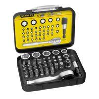 """STANLEY 1-13-906 Bit-Satz 1/4"""" - 25mm - Mit Mini-Umschaltknarre und Steckschlüsseln - 39-teilig"""