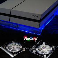 PlayStation 4  PS4 Standard / Slim & Pro USB Design Ständer +    Lüfter / Kühler in Blau LED  Stand Unterlage