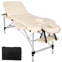 tectake 3 Zonen Massageliege mit 5cm Polsterung und Aluminiumgestell - beige