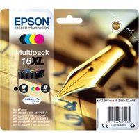 Epson Pen and crossword Multipack 16XL DURABrite Ultra Ink, Original, Tinte auf Pigmentbasis, Schwarz, Cyan, Magenta, Gelb, Epson, Multi pack, - WorkForce WF-2760DWF - WorkForce WF-2750DWF - WorkForce WF-2660DWF - WorkForce WF-2650DWF -...