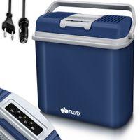 tillvex Kühlbox elektrisch 24L Blau | Mini-Kühlschrank 230 V und 12 V für KFZ Auto Camping | kühlt & wärmt | ECO-Modus
